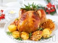Пълнено коледно пиле с ориз, орехи и сушени плодове (стафиди, кайсии, сини сливи) печено на фурна